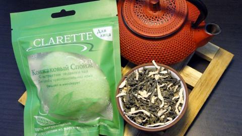 Отзыв: Конжаковый спонж с экстрактом зеленого чая Clarette